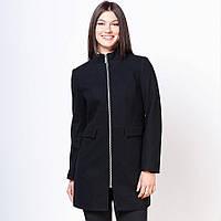 Пальто полупальто женское на молнии осеннее черное из шерсти мериноса  46