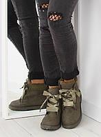Серо-зеленые утепленные женские ботинки с атласными шнуровками VERDE