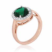 Позолоченное кольцо с зеленым камнем из серебра КК3ФИ/410