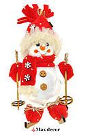 """Формовая стеклянная игрушка с декором """"Снеговик на лыжах"""" высота 18 см"""