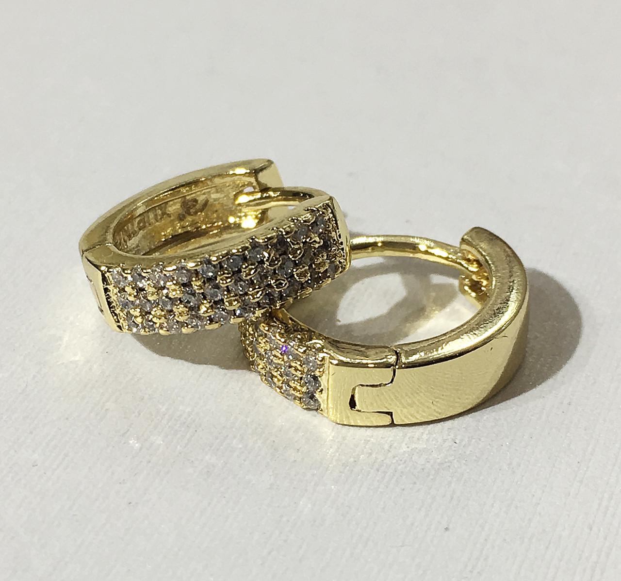 Сережки три ряди каменів (під європейське золото 750 проби)