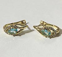Серьги капелька с голубым камнем (под европейское золото 750 пробы)