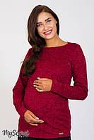 Облегающий джемпер для беременных и кормления ELANOR, из теплого трикотажа, ягодный меланж, фото 1
