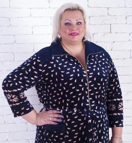 """купить в интернет магазине Женский велюровый халат большого размера """"Шик"""""""