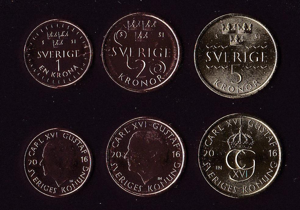Набор Швеция 3 монеты 2016