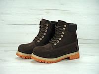 Мужские зимние ботинки Timberland 6 inch Brown Boots с натуральным мехом
