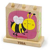Детский пазл-пирамидка Viga Toys Насекомые (50158)