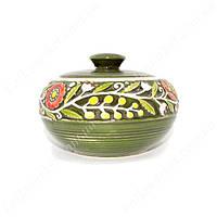 Сахарница керамическая с цветами зеленая
