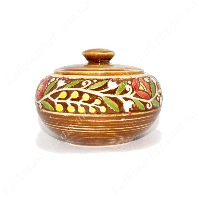 Сахарница керамическая с цветами оранжевая