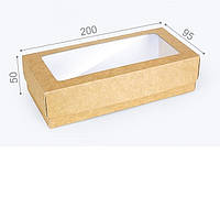 "Коробка. Модель №0008 ""Пенал"". Код М0008-о21. Крафт с окном, фото 1"