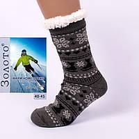 Тёплые домашние носки с тормозами Золото HD3001-1