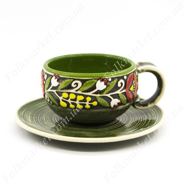 Кофейная чашка + блюдце с орнаментом зеленые