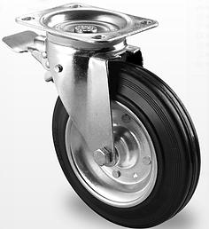 Профессиональные колеса для контейнеров ТБО и строительных лесов (металл/полипропилен)