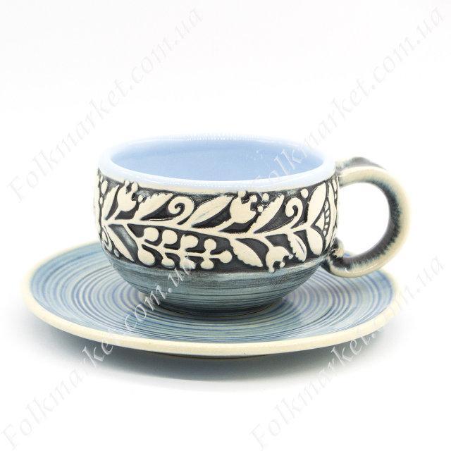 Кофейная чашка + блюдце с орнаментом голубая