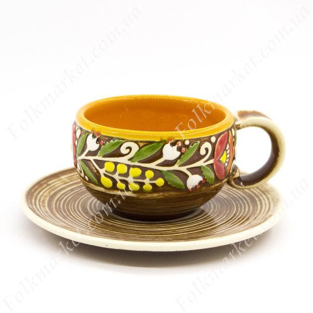 Кофейная чашка + блюдце с орнаментом оранжевые