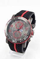 Мужские наручные часы (черный ремешок, красные метки) , фото 1