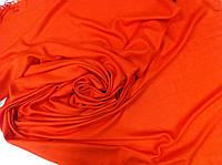 Кашемировый однотонный  палантин с бахромой цвет оранжевый, фото 1