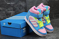 Жіночі кросівки Снікерси Аdidas голубі з рожевим 4217861d066de