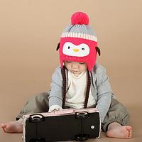 Детская зимняя теплая шапочка Пингвин