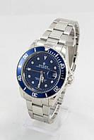 Мужские наручные часы Rolex (синий циферблат, серебристый ремешок) (Копия)