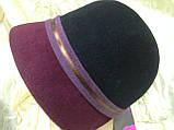 Капелюшок з фетру триколірна з опущеними полями, фото 2
