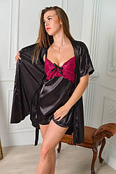 Женский шелковый комплект с итальянским кружевом