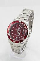 Мужские наручные часы Rolex (красный циферблат, серебристый ремешок) (Копия)