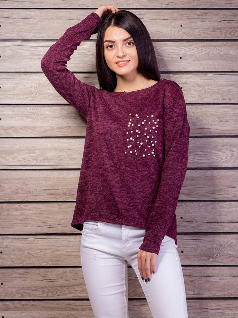 Бордовый свитер из ангоры