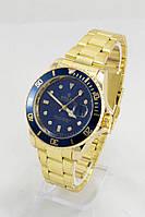 Мужские наручные часы Rolex (синий циферблат, золотой ремешок)