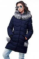 Куртка женская зимняя Гелана, р-ры 44 - 56, ТМ NUI VERY, Украина темно-синий