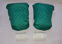 Раздельная муфта стеганая меховая для рук на ручку коляски, на санки (зеленый). Оптом