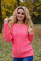 Свитер женский ажурный 1545, (4 цв) женский ажурный свитер, вязаный свитер от производителя