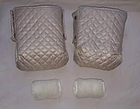 Раздельная муфта стеганая меховая для рук на ручку коляски, на санки (бежевый). Оптом