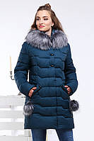 Куртка женская зимняя Гелана, р-ры 44 - 56, ТМ NUI VERY, Украина изумруд