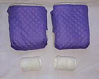 Раздельная муфта стеганая меховая для рук на ручку коляски, на санки (светлый фиолет). Оптом