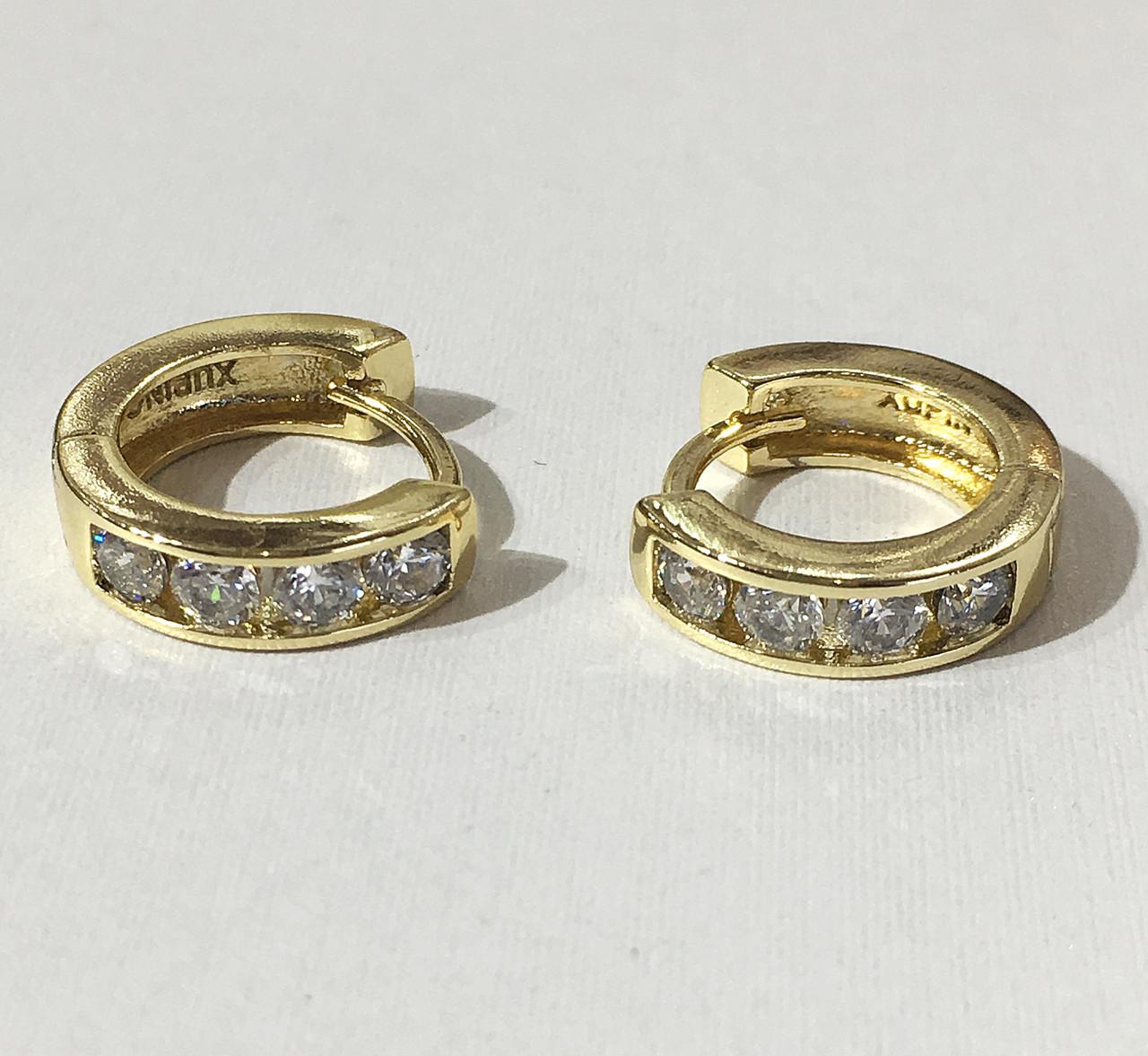 Серьги круглые 4 камня ( под европейское золото 750 пробы)