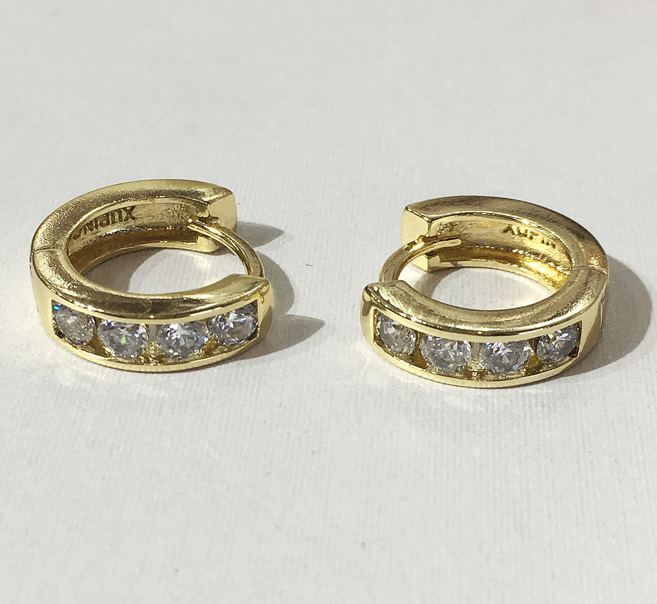 e7607970be14 Серьги круглые 4 камня ( под европейское золото 750 пробы) - VIkiDIm - Ювелирная  бижутерия