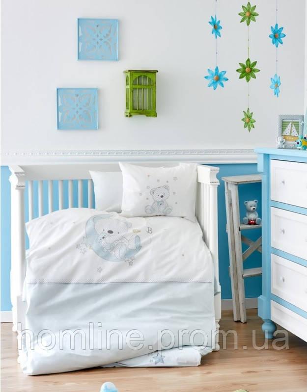 Постельное белье для младенцев Karaca Home ранфорс Moon голубое
