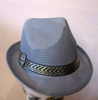 Шляпа Мужская в сеточку серая