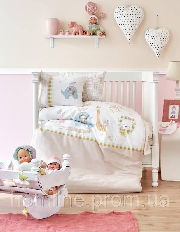 Постельное белье для младенцев Karaca Home ранфорс Playmate бежевое