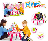 Обучающий стол Same Toy My Art centre розовый, детский развивающий стол, мольберт, доска для рисования