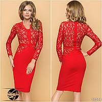 Женское вечернее платье с гипюром красного цвета с длинным рукавом. Модель 16344. Размер 42