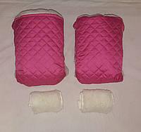 Раздельная муфта стеганая меховая для рук на ручку коляски, на санки (малиновый). Оптом