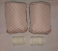 Раздельная муфта стеганая меховая для рук на ручку коляски, на санки (молочный). Оптом