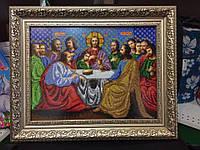 """Вишивка бісером формату А3 """"Марія з Ісусом"""" Готова робота з рамкою."""