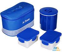 Термос пищевой металлический ланч бокс с сумкой A-plus 1670 Blue