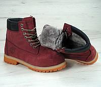 Зимние ботинки Timberland classic 6 inch bordo с натуральным мехом (Реплика ААА+)