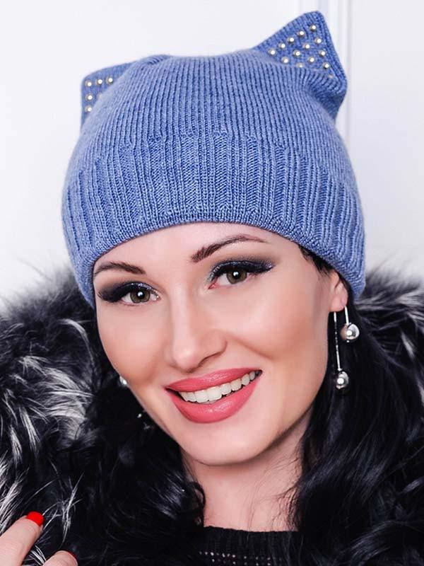 Теплая вязанная  шапка  -Katty-  голубой