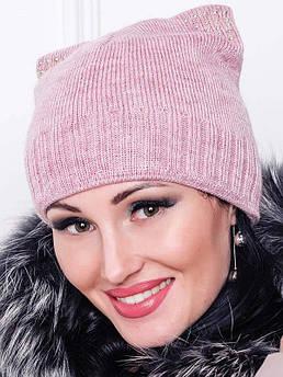 Тепла шапочка -Katty - рожевий меланж