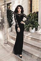Платье женское с шлейфом чёрное с гипюром (5 цветов) ВВ/-0138